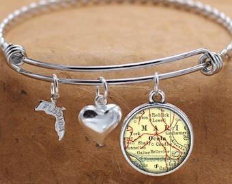 Ocala Florida Map FL State Charm Bangle Bracelet Personalized Custom Vintage Map Jewelry Stainless Steel Bracelet