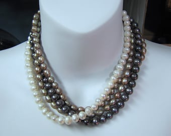 """4 Strand Freshwater Pearl 17"""" Necklace"""