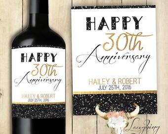 Happy Anniversary Wine Label Happy Anniversary Wine Sticker Gold Watercolor Black Sparkles PRINTABLE