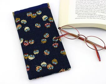 OOAK Glasses Case,Kimono Glasses Holder,Spectacles Case,Gift For Mom, Owls Navy