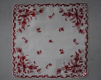 Vtg. MWT Burmel Scalloped Floral Hanky ~ Red White As Seen in Vogue