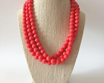 Coral Chunky Statement Necklace