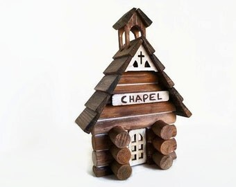 Church Ornament - Christmas church, wedding chapel, log cabin church, little brown church, rustic Christmas, pastor gift, gift under 35