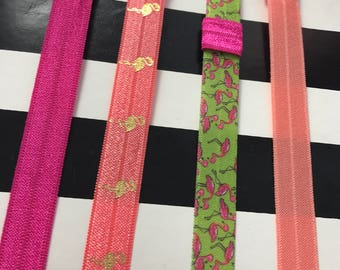 Flamingo Print Planner Band with Pen Loop Set for Erin Condren, Happy Planner, Kikki K, Filofax, and more