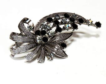 Floral Rhinestone Brooch, Silver Black Brooch Lapel Pin, Vintage Costume Jewelry, Fashion Accessory itsyourcountry