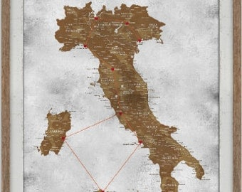 Map of Italy - 20X30 Inches - ush Pin Map of Italy, Gift for Son- Europe Adventures Travel decor- Study Abroad Gift, Personalized