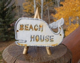 Cast Iron Beach House Sign whale Rustic