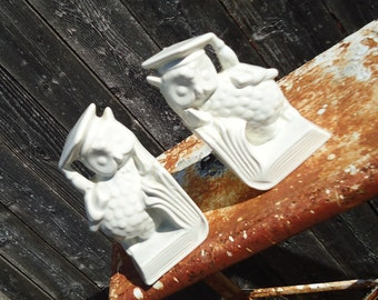Vintage White Ceramic Set of Owl Bookends (Graduation Owls)