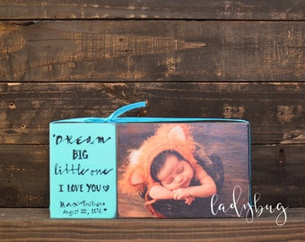 Dream Big little one. Great gift for a baptism, birthday. . Customize your  block set by Ladybug Design by Eu