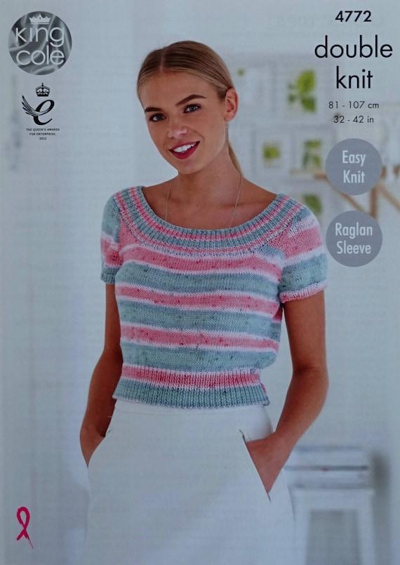 Womens Knitting Pattern K4772 Ladies Easy Knit Boat Neck Short