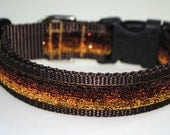 "Brown Gold Ombre Metallic Glitter 1"" Width Adjustable Collar"