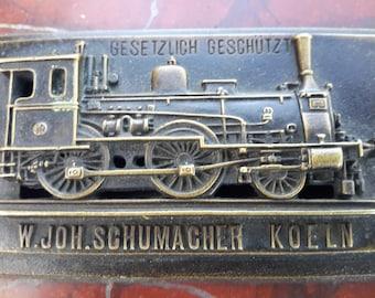 Marble and Bronze Locomotive Paperweight German Gesetzlich  Geschutzt W. Joh. Schumacher Koeln Train Memorabilia