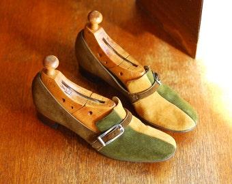 vintage 1960s mod suede colorblock shoes / size 8 narrow