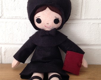 Catholic Toy Doll - St. Elizabeth Ann Seton - Wool Felt Blend - Catholic Toy - Felt Doll