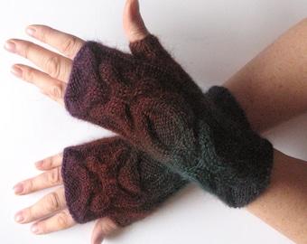 Fingerless Gloves Dark Blue Brown Green Arm Warmers Knit Soft