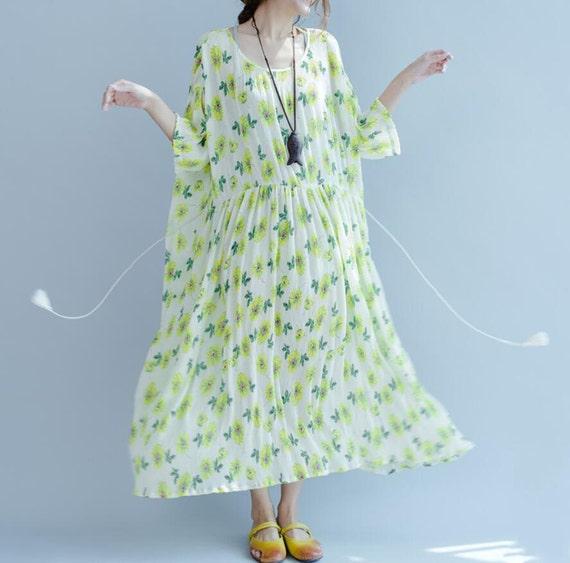 summer Loose Fitting Maxi Dress oversized loose Short sleeve long dress