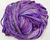 Sari Silk Yarn in Grape Worm Goo by Pen and Hook Skeins in 4 Sizes