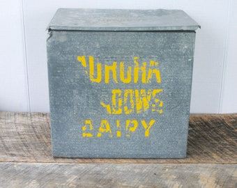 Vintage Galvanized Milk Box Aurora Meadows Dairy