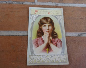 Vintage postcard 1900's Easter religious 1900's spring paper ephemera early cottage chic original crucifix