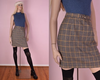 90s Plaid Wool Skirt/ US 2/ 1990s/ Houndstooth