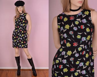 90s Floral Print Dress/ Medium/ 1990s/ Tank/ Sleeveless