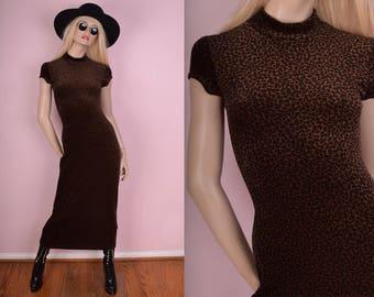 90s Leopard Print Velvet Maxi Dress/ Small/ 1990s/ Mock Neck/ Fuzzy/ Animal Print