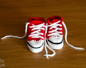 Crochet Baby Booties - White & Red Baby Shoes - MADE TO ORDER