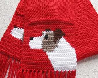 Jack Russell Terrier Scarf. Red knitted scarf with Parsons Terriers. Knit dog scarf.