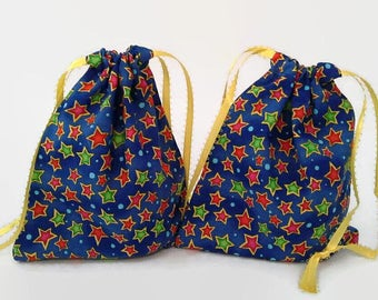 2 Green and Red Stars on Blue Birthday Drawstring Fabric Gift Bag Upcycled, Reusable