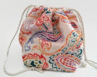 Colorful Paisley Knit On The Go Bag, Drawstring Sock Bag, Knitting Project Bag, Crochet, Upcycled