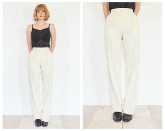 80s Pleat Front Cream Wool Trousers / High Waist Pants / 24 Waist