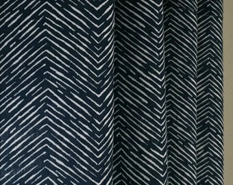 Navy and White Cameron Herringbone Curtains - Grommet Top - 63 72 84 90 96 108 120 Long x 25 or 50 Wide