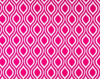Candy Pink White Geometric Curtains Nicole  Rod Pocket  63 72 84 90 96 108 or 120 Long x 24 or 50 Wide