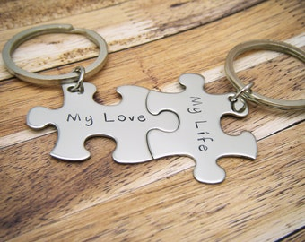 My Love My Life, Couples keychains, Anniversary Gift, Couples Gift, Unique Wedding Gift, LDR Keychain, LDR Gift, puzzle keychain