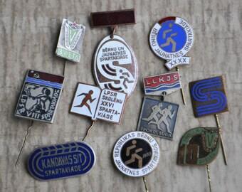 """Set of 10 Vintage Latvian enamel SPORT badges,pins.""""Spartakiad""""."""
