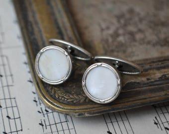 Vintage metal-mother of pearl  cufflinks.