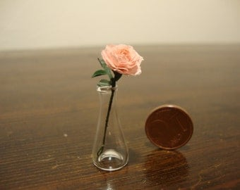 dollhouse Miniature vase with pink roses