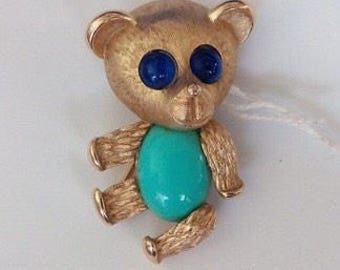 Signed trifari Teddy bear brooch, turquoise, lapis colored stones adorable gift for vintage jewelry or bear collector