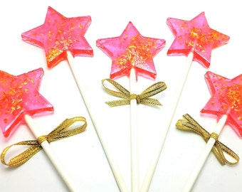 10  STAR WAND LOLLIPOPS with Edible Gold Glitter and Ribbon - Twinkle Twinkle Little Star Party Favors, Variety of Colors and Flavors
