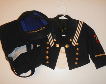 Vintage Yaught Club Wool Boys Sailor Suit 1950's From Germany
