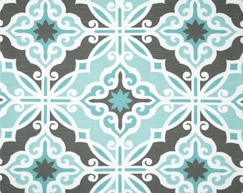 One 52 x 90  Cotton Tablecloth - Damask Geometric Tile -Teal Blue