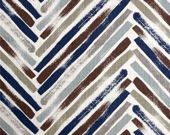 Two 96 x 50 Custom Curtain Panels  - Stella Zig Zag Regal Navy Blue Brown Taupe Grey