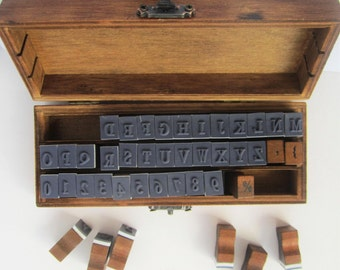Wooden boxed set upper case alphabet rubber stamp set collection with numbers punctuation