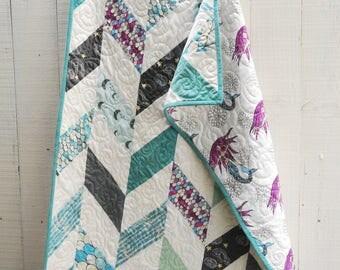 Herringbone Mermaid Quilt, Organic Quilt, Organic Crib Quilt, Toddler Quilt, Baby Quilt