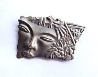 Art Nouveau Lady Face Portrait Brooch Antique Figural Female Fashion Jewelry