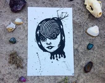 Junji Ito Ouzumaki Inspired Print; Deep Spiral Dark Universe Linocut Print (2)
