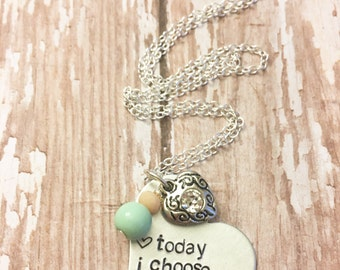 Today I Choose Kindness Hand Stamped Necklace or Metal Cuff