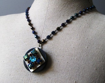 LONG LAYERING Vintage Iridescent Black Rosary & Button Necklace Jewelry: Blue Rhinestone Diamonds with Red Rounds on White Mother of Pearl