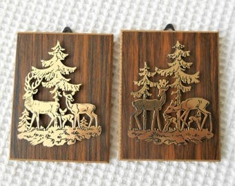 2 Silhouette Deers Forest Gold Mini vintage Art Wall Hangings
