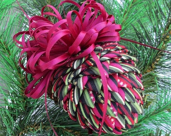 Fabric Pinecone Christmas Ornament - Stars and Stripes Burgundy, Green Mix - Stocking Stuffer, Co-Worker Gift, Ornament Exchange Gift